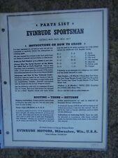 NEW 1950s Evinrude Sportsman Model 4425 Outboard Motor Owner/'s Manual NOS