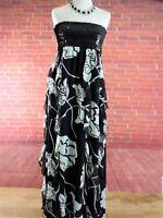 New Ladies Womens Boohoo Black White Flowered Long Dress - Size 12