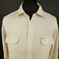 Tommy Hilfiger Mens LINEN Shirt LARGE Long Sleeve Beige Regular Fit Check Linen