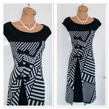JOSEPH RIBKOFF Black Grey Geometric Pattern  Dress With Eyelet Detail Uk Size 18