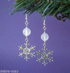 Gorgeous Big Winter Snowflake Frosted Bead Drop Earrings - Christmas Yule Noel