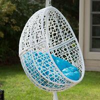 FUN Single Over-Head Patio Egg Chair Blue Cushion Outdoor Home Furniture Seating