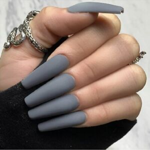 24Pcs False Nail Matte Grey Long Coffin Press On Extension Full Natural Nails