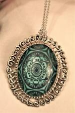 Floral Swirl Mandala Necklace Brooch Pin Swirl Rim Silvertone Teal Blue & Black