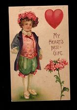 Valentine Postcard dapper young man wonderfully dressed, red heart, flower