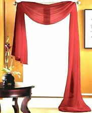 "1 SCARF VALANCE VOILE SHEER FABRIC ELEGANT WINDOW CURTAIN DRAPE 35""X216"" RED"
