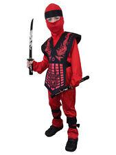 BOYS POWER RED BLACK NINJA SAMURAI WARRIOR CHILD KIDS FANCY DRESS COSTUME OUTFIT