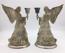 """2 Vintage International Silver Angel Candle Holders 1994 Silver Plate 8.5"""""""