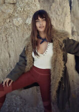 NEW $298 Free People Extreme Moto Faux Fur Parka Size Small Green