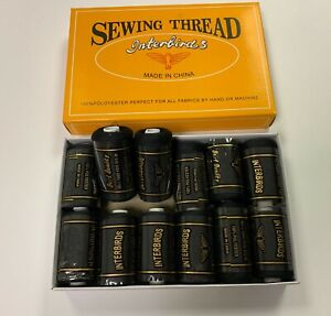 12 Spools All Purpose Polyester Sewing Thread for Face Masks DIY Black 12,000Yds