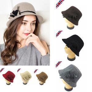 Womens Ladies Vintage 1920s Wool Blend Downton Abbey Hat Cloche Bucket Felt Gift