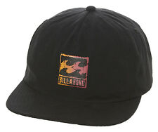 "NEW + TAG BILLABONG MEN BOYS ""PSYCHO WAVE"" SNAPBACK FLAT PEAK RIM CAP HAT BLACK"