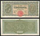 "LUOGOTENENZA - 50 Lire ""Italia Turrita"" 10.12.1944 qFDS"