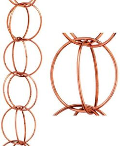 Rain Chain 8.5 ft. Double Link Pure Copper Brass with Gutter Installation Clip
