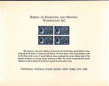 {BJ Stamps} BEP B 4 Souvenir Card ASDA 1969, Block of 4 E-4, unused w/envelope