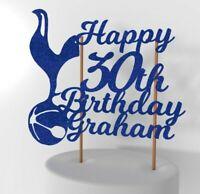 Personalised Tottenham Hotspur Football Cake Topper - Spurs Glitter Cake Topper