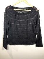 Lafayette 148 Womens Top Black Lace 3/4 Sleeve Stretchy Size M