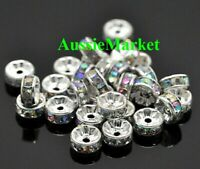 50 x loose spacer beads acrylic plastic silver 8mm x 4mm ab colour rhinestones
