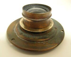 Vintage brass camera lens ALDIS anastigmat with flange, clear lenses
