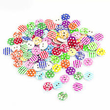 Holzknöpfe Buttons Rund ca. 100 Stück ⌀ 15mm - Nähen Kleidung Deko