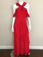 BCBGMAXAZRIA NWT Orange Red Cold Shoulders Ruffled Halter Gown Dress Size 12 NEW