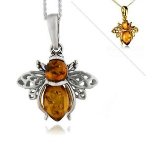 Sterling Silver Pendant  Bee Amber Brown Options 18'' Chain Yellow Gold Plate 92