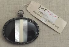 """NWT Monet """"Convertibles"""" Black Stone Mother of Pearl Shell Necklace Pendant"""
