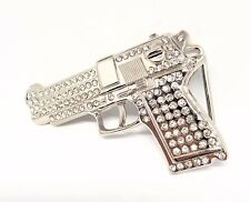CHROME BLING BELT BUCKLE GUN BULLET SHOOT GAMBLER COWBOY BIKER FIT SNAP BELT