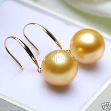Huge 14mm Tahitian Golden South Sea Shell Pearl 14k Gold Plated Dangle Earrings