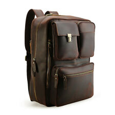 Men Leather Briefcase 16'' Laptop Backpack Shoulder Bag Handbag Satchel Schoobag