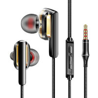 HIFI Earphone Dual Dynamic Driver Headphone Super Bass Stereo Headset With Mic