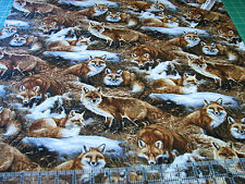 1 Yard Quilt Cotton Fabric - Springs Wild Wings Foxcroft Red Fox Scenic Grass