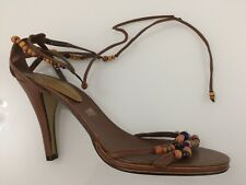 Ladies Shoes Size 8 Brown Multi  NINE WEST Beads Leather Peep Toe Tie Fasteners