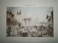 Gravure 19° 1899 couleur Peinture Tattegrain Saint Quentin pris d'assaut
