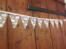 Traditional Mini bunting white lace 4 inch flags 1 meter ideal wedding table