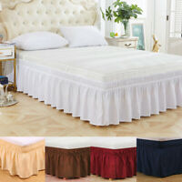 Elastic Bed Skirt Luxury Dust Ruffle Easy Fit Wrap Around Twin Full Queen King