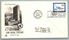 United Nations Jun 17 1963 Fdc First Day of Issue 13 cent Regular Air Mail Stamp