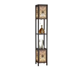 Infinity Heart Shelf Asian Floor Lamp w/ 2 Display Shelves 64 in. Espresso Brown
