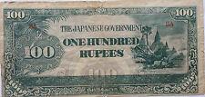 Burma Japanese Invasion Money 100 Rupees Prefix BA