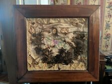 Vintage Victorian Hair Wreath in Shadow Box Mourning Art With Embroidered Silk