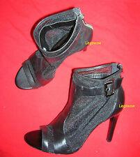 "BCBG Trilby Black Mesh Open Toe Womens 9.5 Shoe 4"" Stiletto Heel Pump Bootie New"