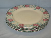 """4 Tienshan Stoneware Dinner Plate 10-3/4"""" Diameter Red Apple Country Check #DH35"""