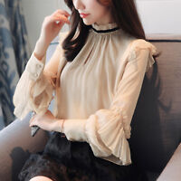 Autumn Elegant Womens Ruffled Solid Long Sleeve Shirt Tops Casual Chiffon Blouse