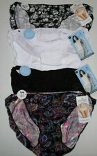 4 Jockey Nylon Bikini Panty Set 1330 No Line Logo Black White Solid Print 7 L