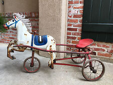 Antique Vintage Metal Pedal Car Toy Race Horse Tricycle Russia Soviet USSR