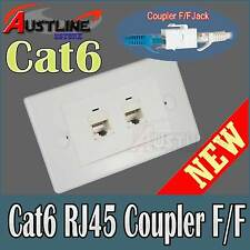 2Port Cat6 Keystone Wall Plate with 2 RJ45 Cat 6 Jack F/F