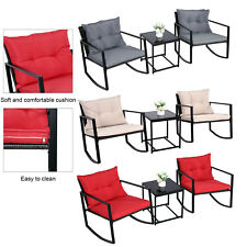 3 Piece Patio Glider Rocking Chair Set Garden Furniture for Backyard Outdoor New