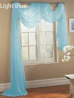 2 LIGHT BLUE SCARF SHEER VOILE WINDOW TREATMENT CURTAIN DRAPES VALANCE