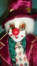 "Collectors Choice Porcelain Clown Tags H 23"" Genuine Fine Bisque Face & Hands"