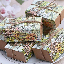 10Pcs Wedding Favors Boxes Bags Craft Paper World Map Drawers Candy Gift Gift